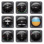 Aircraft gauges set — Stock Vector