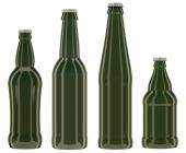 Green glass bottles isolated on white background — Stock Photo