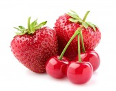 Strawberry with cherry. — Stockfoto