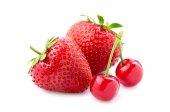 Beautiful strawberry and cherry. — Stock Photo