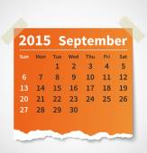 Calendar september 2015 colorful torn paper — Stock Vector