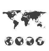 Graue karte der welt mit globus-ikonen — Stockvektor
