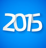 Happy new year 2015 paper text on blue background — Vector de stock