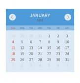 Calendar monthly january 2015 in flat design — Stock Vector