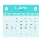 Calendar monthly fabruary 2015 in flat design — Stock Vector