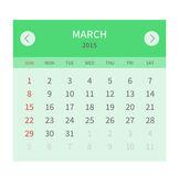 Calendar monthly march 2015 in flat design — Stock Vector