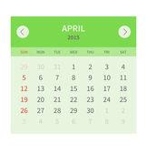 Calendar monthly april 2015 in flat design — Stock Vector