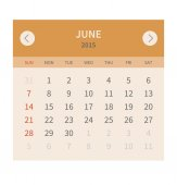 Calendar monthly june 2015 in flat design — Stock Vector