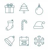 Christmas outline icons — Stock Vector