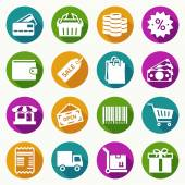 Set of shopping icons in flat style — Stock Vector