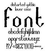 Handwritten black distorted gothic lower case alphabet with symbols — Stock Vector