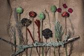 Landscape abstract. Handmade from craft flower. Skrapbook backgr — Stock Photo