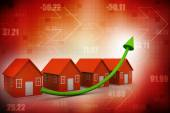 House real estate chart with growing arrow — Stock Photo