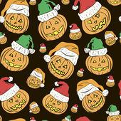 Christmas pumpkins seamless texture — Stock Vector