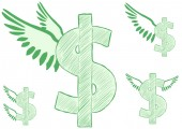 Winged dollar — Stock Vector