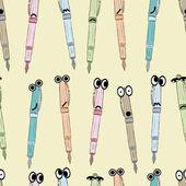 Seamless big-eyed emotional pens — Stock Vector
