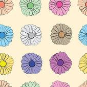 Seamless multi-colored camomiles — Stock Vector