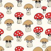 Emotional seamless mushrooms — Stock Vector