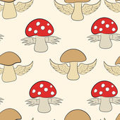 Seamless mushrooms and fly agarics — Stock Vector