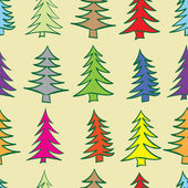 Seamless multi-colored fir-trees — Stock Vector