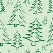 Seamless contours of fir-trees — Stock Vector