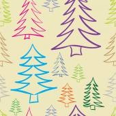 Seamless color contours of fir-trees — Stock Vector