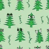 Emotional seamless fir-trees — Stock Vector