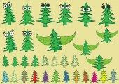 Clipart with creative fir-trees — Stock Vector