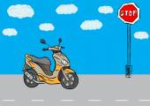 Scooter and sign — Stock Vector