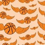 Постер, плакат: Seamless winged basketballs