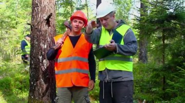 Forest Officer with young worker — Vídeo de stock