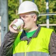 Electrician Engineer drink coffee — Stock Photo #54620539