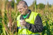 Farmer with cup of coffee — Stock Photo