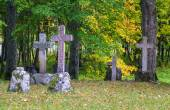 Old stone crosses on graves with autumn trees around — Stock Photo