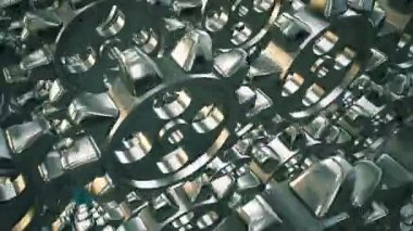Abstract rotating gears in metallic color — Stock Video