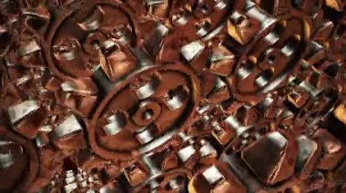 Abstract rotating gears in bronze color — Stock Video