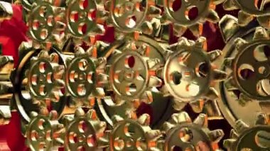 Abstract rotating gears in gold color — Stock Video