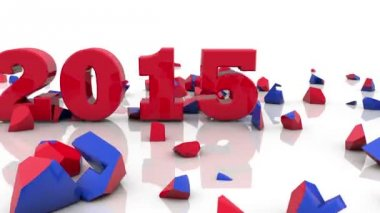 New Year 2015 on white background — Stock Video