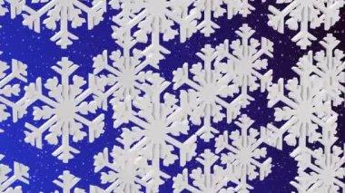 Белые снежинки на синем фоне — Стоковое видео