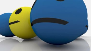 Smileys in blue and yellow color — Stockvideo