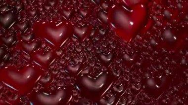 Dark Red flying Hearts — Stock Video