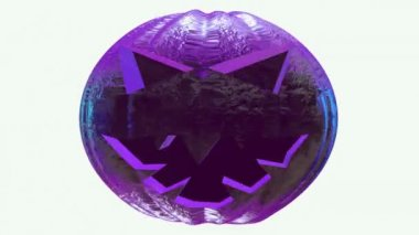 Rotating pumpkin head in purple color — Stock Video