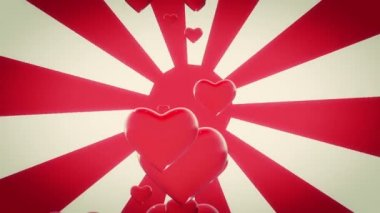 Red Hearts on sunburst in red color — Stock Video