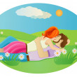 Kissing couple at the  meadow — Stock Vector #63798517