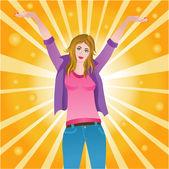 Happy successful joyful woman — ストックベクタ