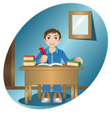 Schoolboy at the table — Stock Vector