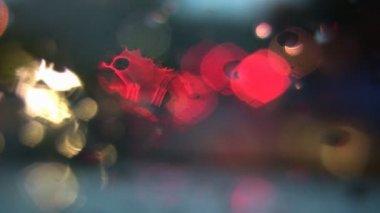 Defocused Light & Rain Reflections — Stock Video