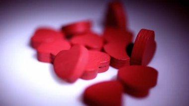 Wooden Hearts Rotating — Stock Video