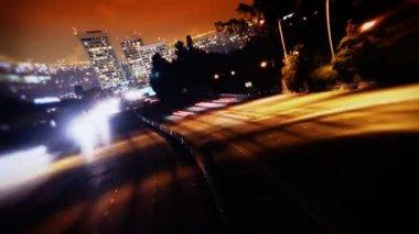 Los Angeles Freeway Traffic at Night — Stock Video