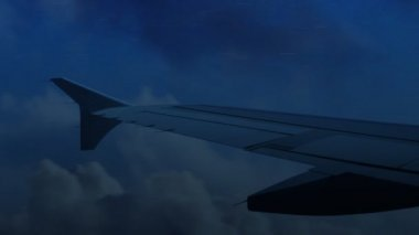 Flying on a Jet Plane Through Storm — Stock Video